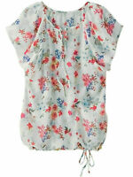 White Floral Blouse Top Size 14/16 Flutter Cap Sleeve Tie Neck Hem Quality New