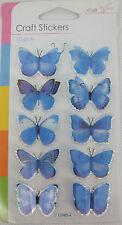 3d Color Azul Pálido Mariposa Stickers-embellishments-lots de usos 10 En Pack