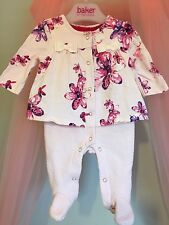 Baby Girls Designer Ted Baker Floral Jewel Glitter Sleepsuit Newborn ✨