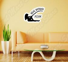 "Real Woman Fish Fishing Girl Female Wall Sticker Room Interior Decor 25""X20"""