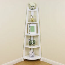White 5 Tier Tall Corner Shelf/Shelving Unit Display Stand Home Bathroom/Lounge