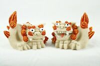Feng Shui Red Yellow Resin Pair of Foo Dog Guardian Lions Wealth Figurines