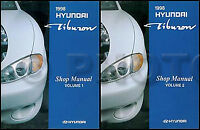 1998 Hyundai Tiburon Repair Shop Manual Set 98 FX Original OEM