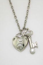 """TIFFANY & CO. DIAMOND HEART AND KEY PLATINUM PENDANT AND CABLE NECKLACE 16"""""""