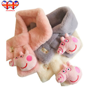 Children's 3D Pink Pig Head Faux Fur Scarf  3 Colors Pink,White,Gray