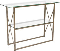Contemporary Design Tempered Glass Console Table with Matte Gold Frame Finish