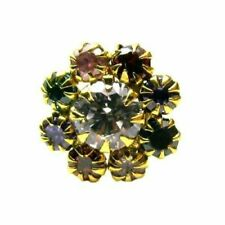 Classic Multicolor CZ Studded Body Piercing Nose Stud Pin Real 14k Yellow Gold