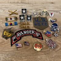 Mixed Vintage Lot Of US Military Crest Pins Lot Dept Of Army MP SMA Rangers ROTC