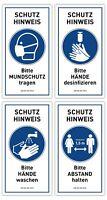 4x Hygiene Hinweis Aufkleber MUNDBINDE DESINFEKTION ABSTAND HALTEN Virus Schutz
