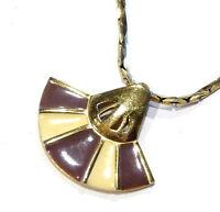 Bijou alliage doré collier pendentif émaillé signé Givenchy paris New-York 1960