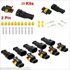 20in1 2-Pin Way Waterproof Sealed Waterproof Connector Kit For Car Scooter Truck