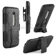 Armor Impact Holster Hard Case Stand Belt Clip Cover For Motorola Moto G 3rd Gen