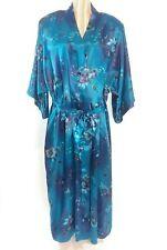 Vintage California Dynasty Size 3X 26W/28W Blue Floral Satin Kimono Wrap Robe