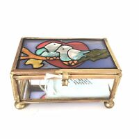 NEW Tagged Love Birds Stained Glass Rectangular Gold Metal Frame Trinket Box