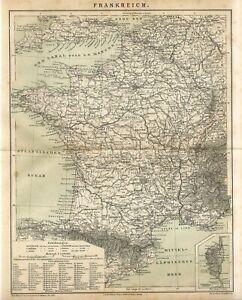 1882 FRANCE CORSICA Antique Map