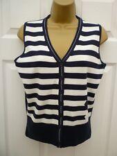 GREEN LAMB Ladies Size 10 Blue White Stripe Thin Knit Sleeveless Golf Tank Top