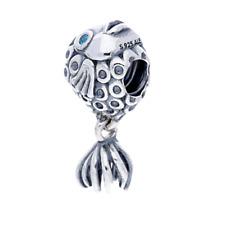 Original Pandora Bead Element Charm 791108 TPP Kaiserfisch Topas türkis Silber