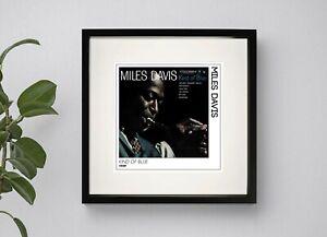 MILES DAVIES - KIND OF BLUE   FRAMED BOXED PRINT POSTER 3 Sizes Black or White