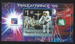 Marshall Islands  Sc 709 Ss    PhilexFrance 99   Astronaut, lunar rover