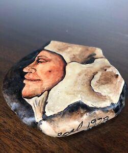 Walter Egel Kuhlman (1918–2009) Hand Painted Stone SIGNED egel 1973