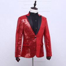 Men Sequin Peak Lapel Suit Jacket Blazer Wedding Prom Costume Dance Show Glitter
