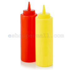2pc Ketchup Mustard Plastic Squeeze Bottle Set Red Yellow Dispenser Cap B-11284