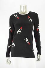 AQUA CASHMERE Black 100% Cashmere Lipstick Print Crewneck Sweater NWD SMALL