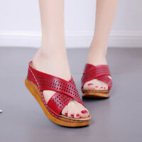 Women Wedge Slippers Peep Toe Platform High Heel Soft Sole Sandals Beach Leather