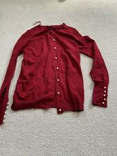 Zara Red Cardigan With Pearls Size Small