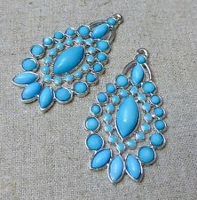 Confezione da 10-Orecchino componente, pendenti con resina blu