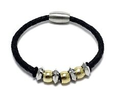 Mens Two Tone Stainless Steel Leather Band Bracelet Magnet Clasp Bangle Jewelry