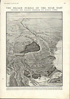 1915 Première Guerre Mondiale Imprimé ~ Carte Montrant Le des Balkans Problem