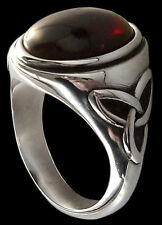 Sterling Silver Dark Gothic Triquetra Ring Red Garnet - Pagan Celtic engagement