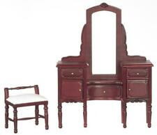 Dolls House Mahogany Vanity Dressing Table & Stool Miniature Bedroom Furniture