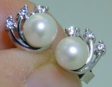 9CT WHITE GOLD 5mm PEARL SIMULATED DIAMOND CLUSTER STUD EARRINGS