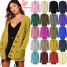 Women Ladies Long Sleeve Button Top Chunky Aran Cable Knitted Grandad Cardigan