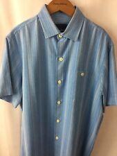d7899e033a Tommy Bahama Zaldera Stripe Banff Blue 100 Silk Men's Shirt Sz Small B20