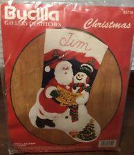 Bucilla Gallery Christmas Felt Stocking Kit # 32710 SANTA & SNOWMAN Sequins