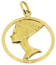 18kt yellow gold large round Egyptian Nefertiti pendants head 3D