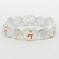 Snowman Bracelet Snowflake SILVER WHITE Stretch Christmas Holiday Winter Jewelry
