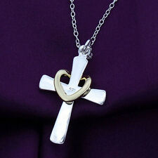 Fashion Style Girl Silver Palated Jewelry Cross heart Love Pendant Chain Necklac