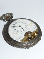 Taschenuhr Eisenbahner Uhr Silber Spiral Breguet vermutlich um 1900