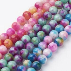 Strand 51+ 8mm Natural Jade Mixed Colour Plain Round Beads UK