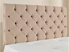 "5ft King Size 36"" High Chesterfield Cream Chenille Deep Buttoned Headboard"