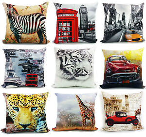 3d photographic cushion Cover cushions vintage tiger london girdar new york wolf