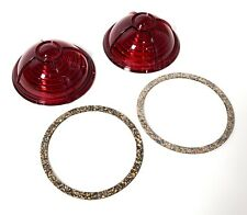 Pair Red Tail Light Lenses & Gaskets For 1937 Ford Tail Lights - Zephyr Style