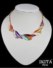 Luxus Halskette Kette Emaille Ikita Paris Vergoldet Statement Collier Blatt
