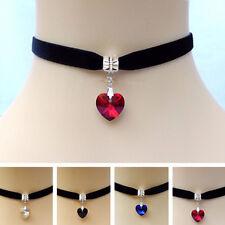 Gothic Velvet Heart Crystal Choker Handmade Necklace Pendant Retro 80 90s New