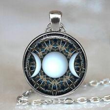 Triple Goddess Moon Cabochon Tibetan Silver Glass Chain Pendant Necklace