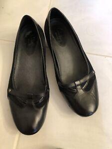 Cole Haan NikeAir Women Ballet SlipOn Flats Leather & Suede Black Shoes Size 8.5